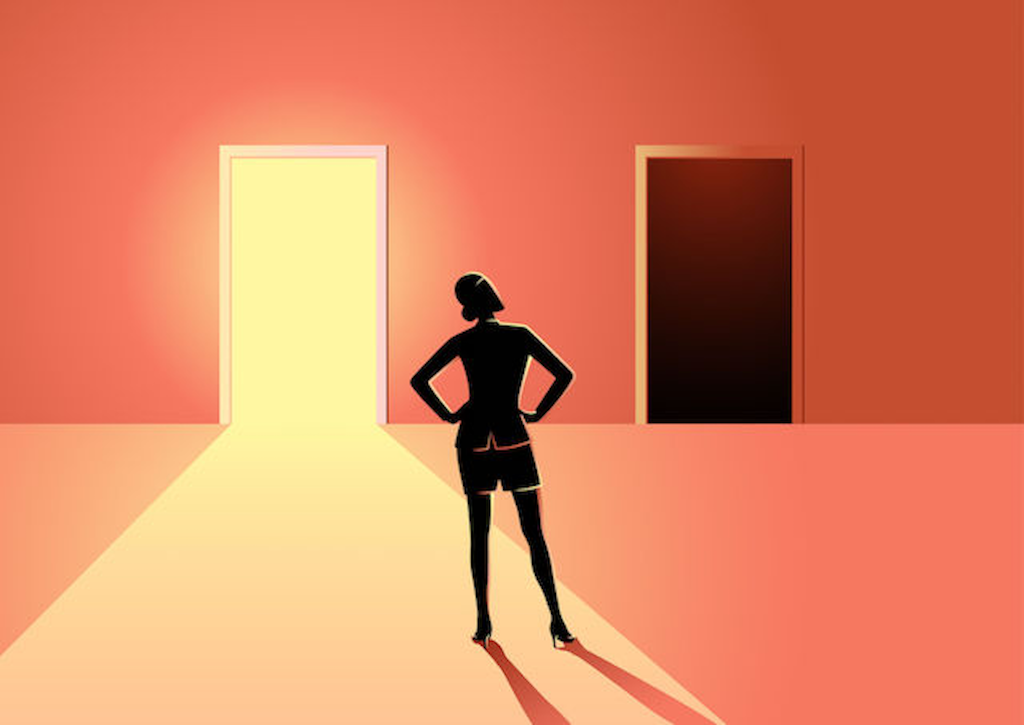 woman choosing between a risk and an opportunity