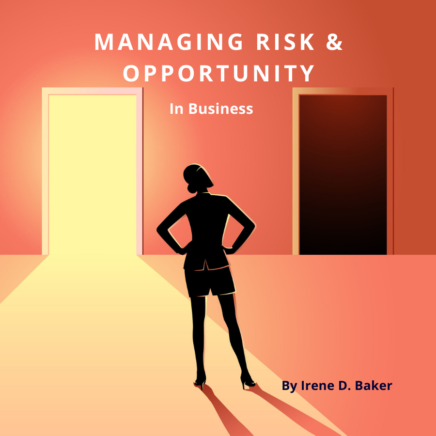 Woman choosing between risk and opportunity